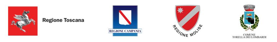 Logo Regione Toscana, Logo Regione Campania, Logo Regione Molise, Logo Comune Torella dei Lombardi